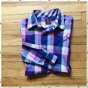 Tailorbyrd Purple Plaid Button Down Shirt XXL
